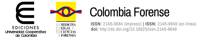 """""""A partir de 2015 la Revista Colombiana de Medicina Legal y Ciencias Forenses es coeditada por el Instituto Nacional de Medicina Legal y Ciencias Forenses y el Fondo Editorial de la Universidad Cooperativa de Colombia."""""""